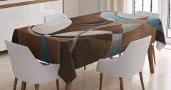Kahverengi Daireler Desenli Masa Örtüsü Soyut Sanat
