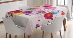 Rengarenk Çiçek Temalı Masa Örtüsü Kırmızı Pembe Şık