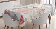 Aşk Temalı Masa Örtüsü Pembe Beyaz Romantik Şık
