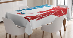 Hokey Oyuncuları Desenli Masa Örtüsü Mavi Kırmızı