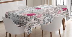 Pembe Çiçek Desenli Masa Örtüsü Siyah Beyaz Trend