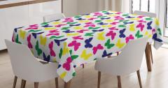 Rengarenk Kelebekli Desen Masa Örtüsü Şık Çeyizlik