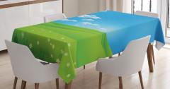Sarı Papatyalar ve Gökyüzü Masa Örtüsü Yeşil Mavi