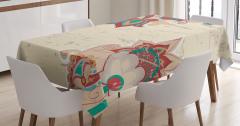 Çiçek Desenli Masa Örtüsü Bej Bordo Şık Tasarım