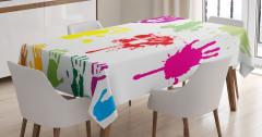 Rengarenk El İzleri Masa Örtüsü Sprey Boya Efektli