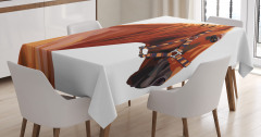Kahverengi At Desenli Masa Örtüsü Dekoratif Şık