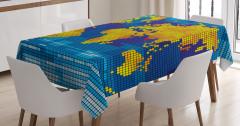 Pikselli Dünya Haritası Masa Örtüsü Sarı Mavi Şık