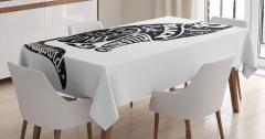 Kara Kedi Desenli Masa Örtüsü Siyah Beyaz Trend