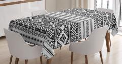 Aztek Desenli Masa Örtüsü Siyah Beyaz Geometrik
