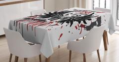 Kuru Kafa Teddy Desenli Masa Örtüsü Siyah Kırmızı