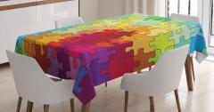 Rengarenk Puzzle Desenli Masa Örtüsü Dekoratif Şık
