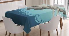 Dalgıç Fil Desenli Masa Örtüsü Mavi Kahverengi Şık
