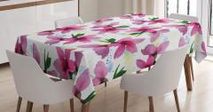 Pembe Kiraz Çiçeği Desenli Masa Örtüsü Çeyizlik Şık