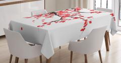 Kırmızı Kiraz Çiçekleri Desenli Masa Örtüsü Trend