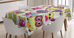 Rengarenk Baykuş Desenli Masa Örtüsü Yeşil Trend