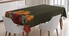 Amber Çiçeği Buketi Desenli Masa Örtüsü Kahverengi