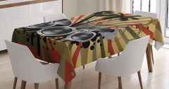 Müzik ve Palmiyeler Masa Örtüsü Dekoratif Şık Trend