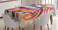 Minibüs Desenli Masa Örtüsü Hippi Temalı Şık Tasarım