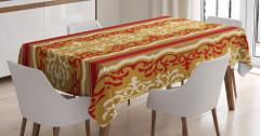 Çiçekli Duvar Kağıdı Desenli Masa Örtüsü Kahverengi