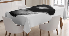 Siyah Beyaz Dudaklar Desenli Masa Örtüsü Şık Tasarım