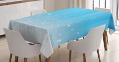 Yıldız Işınları Desenli Masa Örtüsü Mavi Beyaz