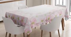 Pembe Elma Çiçekleri Masa Örtüsü Çeyizlik Dekoratif