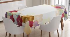 Çiçek Desenli Masa Örtüsü Bej Şık Tasarım Bordo