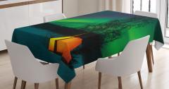Çadırdan Gökyüzüne Bakış Masa Örtüsü Yeşil Gökyüzü