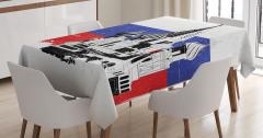 Kremlin Temalı Masa Örtüsü Siyah Beyaz Şık Tasarım