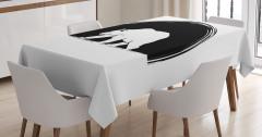 Siyah Beyaz Ayı Desenli Masa Örtüsü Şık Tasarım