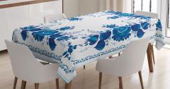 Çini Temalı Masa Örtüsü Çiçek Desenli Mavi Beyaz