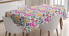 Sarı Pembe Kelebekli Masa Örtüsü Şık Çiçekli