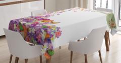 Rengarenk Çiçek Desenli Masa Örtüsü Şık Çeyizlik