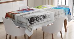 Dört Mevsim Temalı Masa Örtüsü Beyaz Şık Tasarım