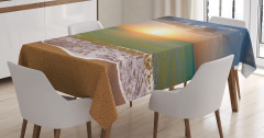 Gün Batımı Temalı Masa Örtüsü Yeşil Deniz Gökyüzü