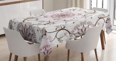 Çiçek Desenli Masa Örtüsü Beyaz Pembe Şık Tasarım