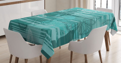 Kelebek Desenli Masa Örtüsü Yeşil Beyaz Şık Tasarım