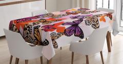 Rengarenk Kelebek Desenli Masa Örtüsü Şık Tasarım