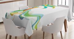 Palmiye ve Deniz Temalı Masa Örtüsü Yeşil Mavi Beyaz