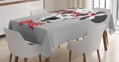 Gözlüklü Köpek Desenli Masa Örtüsü Siyah Kırmızı Gri