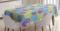 Rengarenk Limon Dilimleri Desenli Masa Örtüsü Şık