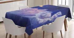 Aydede Bulutların Ardında Masa Örtüsü Gece Gökyüzü
