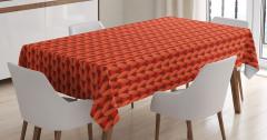 Kırmızı Turuncu Örgü Desenli Masa Örtüsü Şık