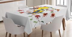 Sarı Karınlı Kuşlar Desenli Masa Örtüsü Sevimli