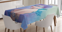 Maskeli Mavi Kız Masa Örtüsü Ejderha Dekoratif