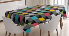 3D Etkili Diyagonal Karolar Masa Örtüsü Şık