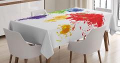 Boyalar ile Dünya Haritası Masa Örtüsü Kıtalar