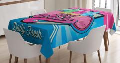 Retro Dondurmacı Tabelası Masa Örtüsü Dekoratif