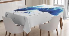 Sulu Boya Mavi Çiçekler Masa Örtüsü Sanatsal