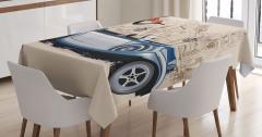 Keman Çalan Kız Desenli Masa Örtüsü Klasik Otomobil